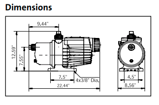 Grundfos MQ Series - Booster pumps Dimension