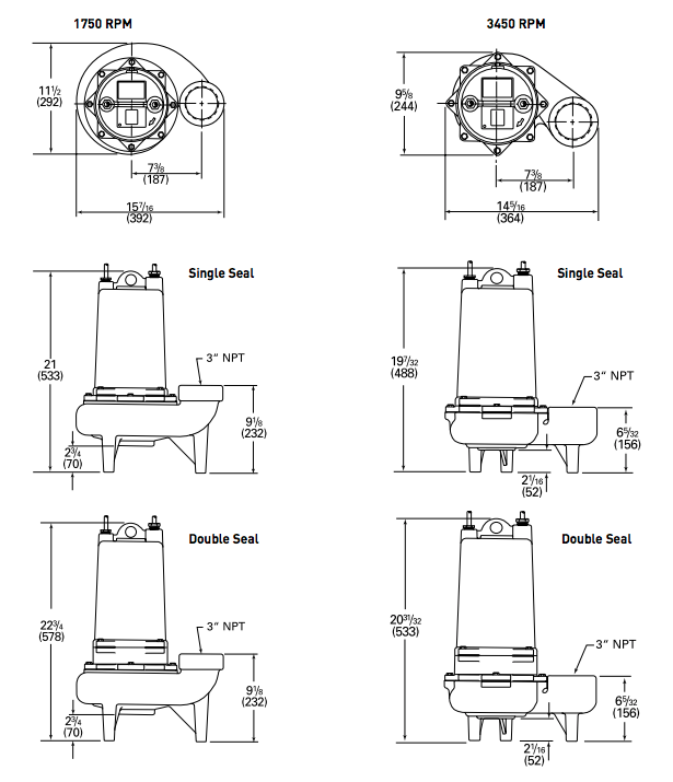 myers mw series dual seal Dimensions