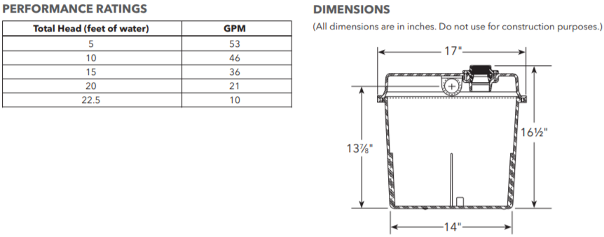 goulds sd series sink pump system dimensions