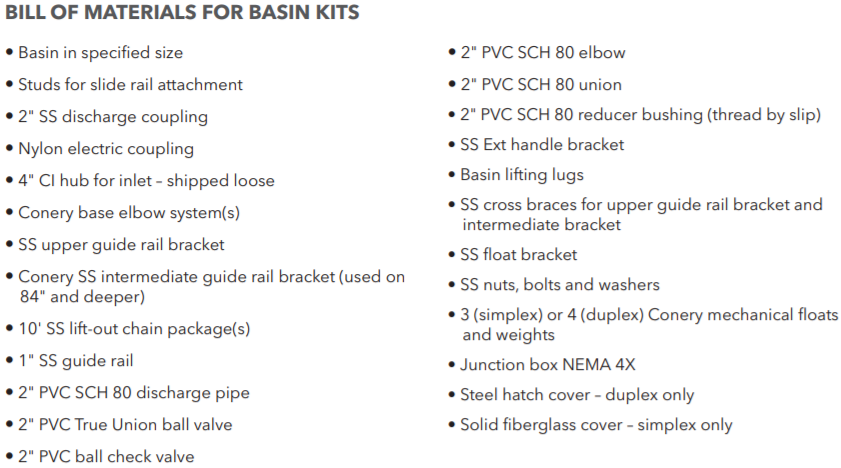 Goulds basin packages materials