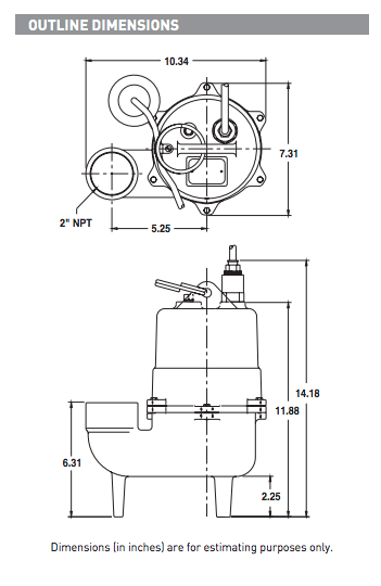 myers mws5 series sewage pumps dimensions