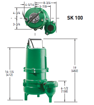 Myers SK100 Series sewage pumps dimensions