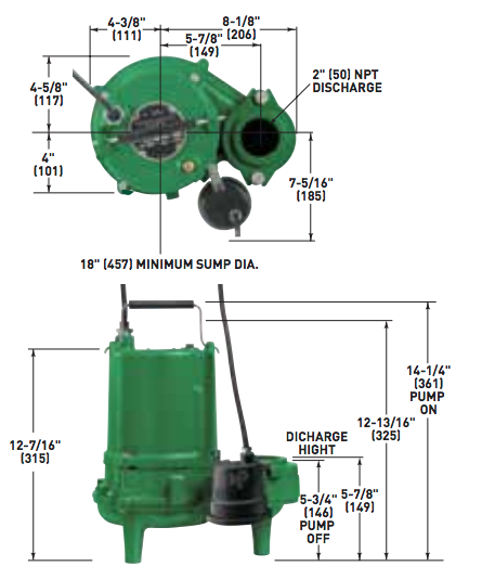 myers sp series sewage pumps dimensions