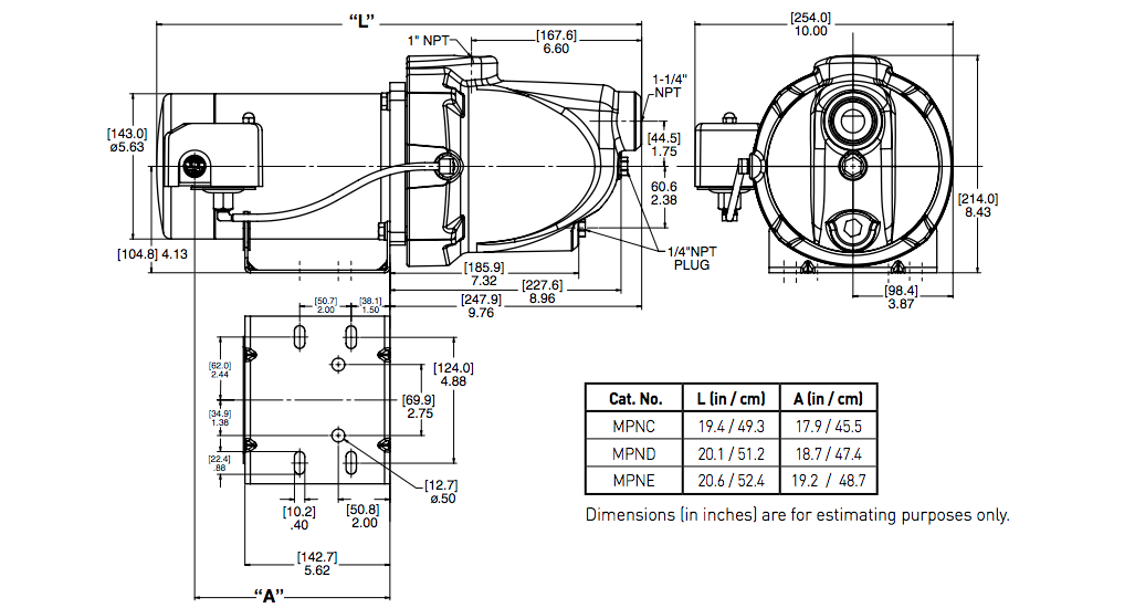 myers mpn series shallow well jet pumps dimensions