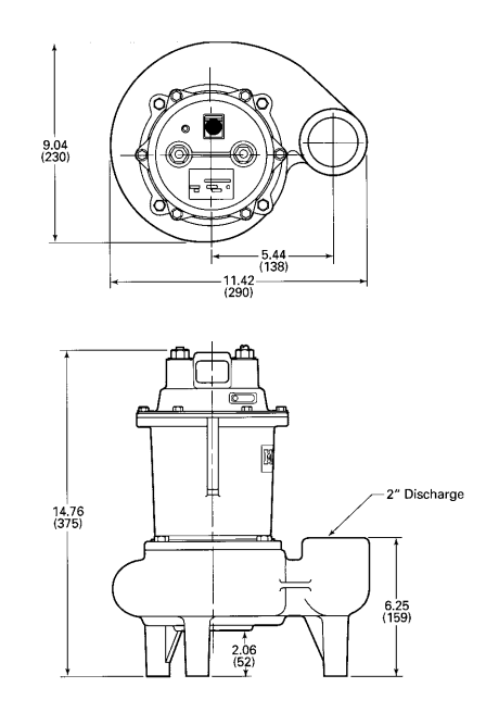 myers mw50 series sewage pumps dimensions