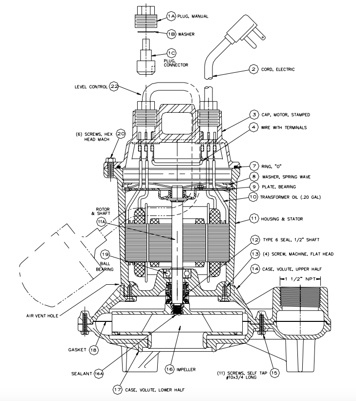 myers me40 series effluent pumps exploded view