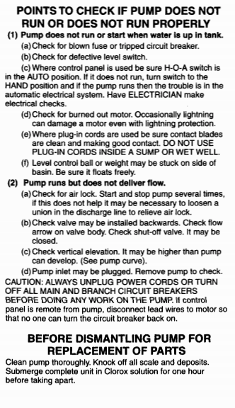 myers mw50 series sewage pumps troubleshooting