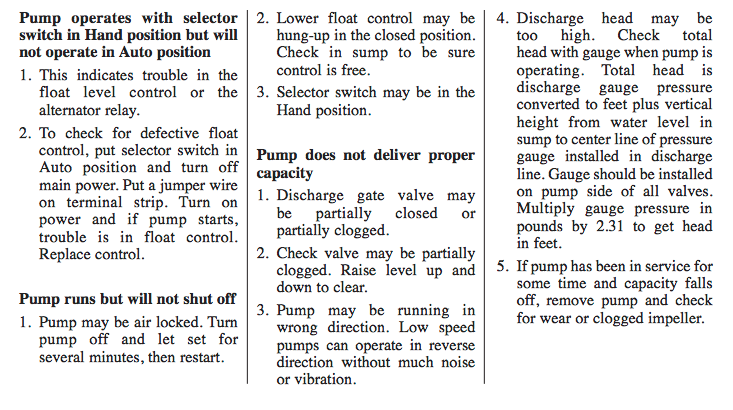 myers s3s & sb3s series sewage pumps troubleshooting