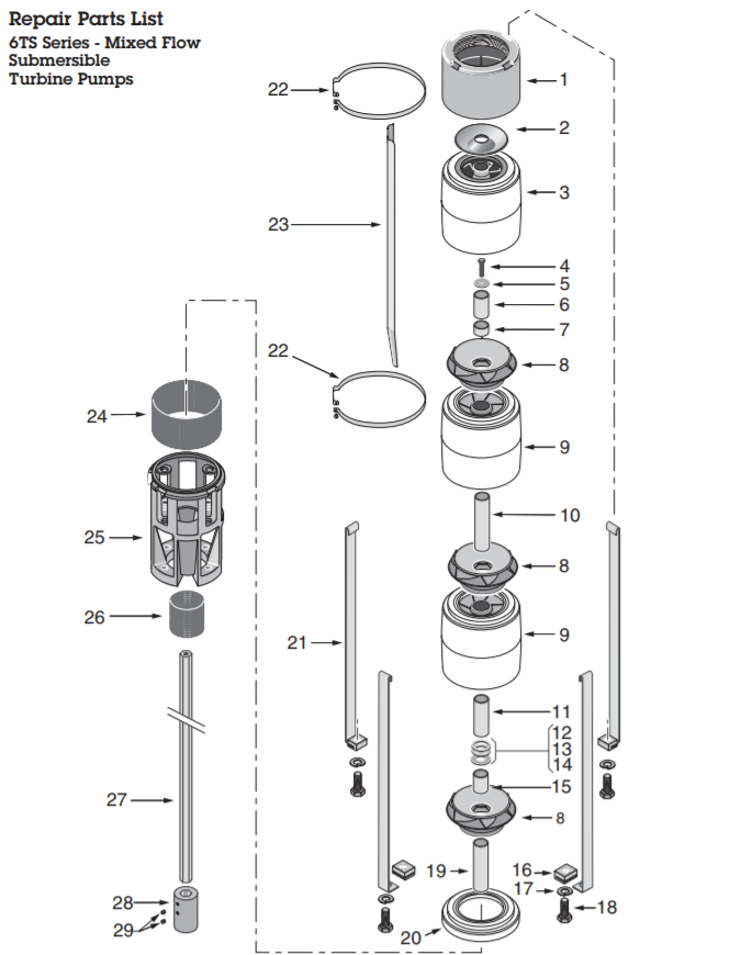 berkeley ts series submersible turbine pump end flowparts diagram 1