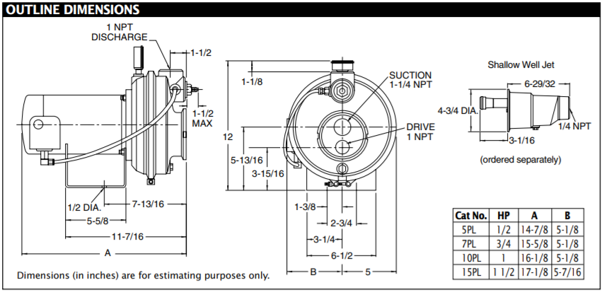 berkeley pl series convertible jet pump Outline Dimensions