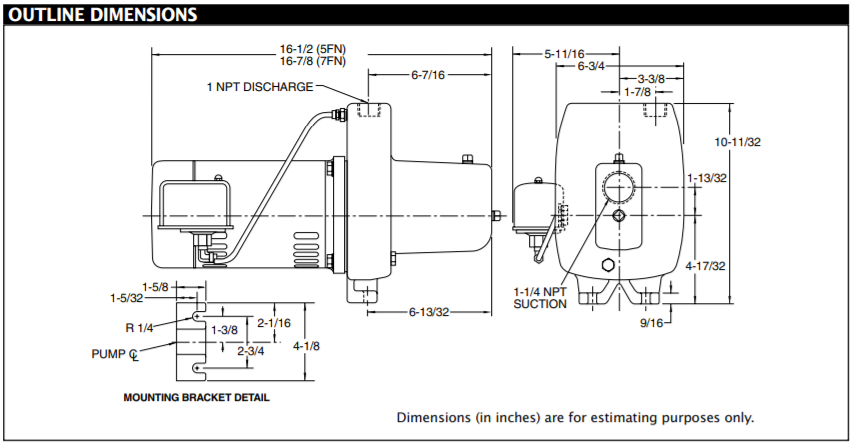 berkeley fn series shallow well jet pump Outline Dimensions