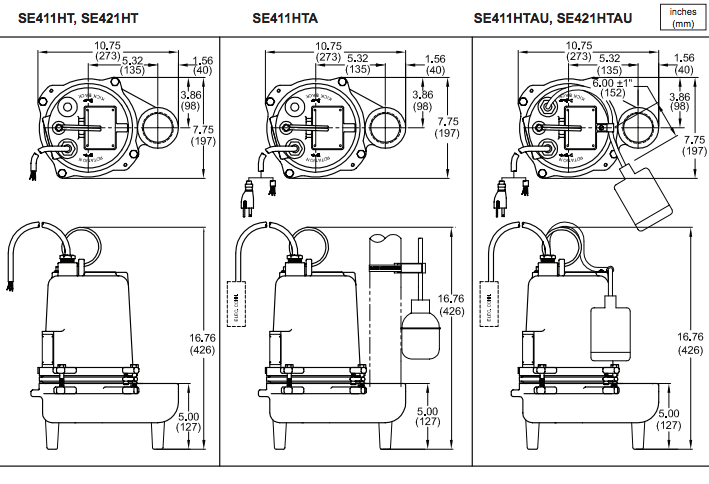 barnes se ht series high temperature pumps dimensions