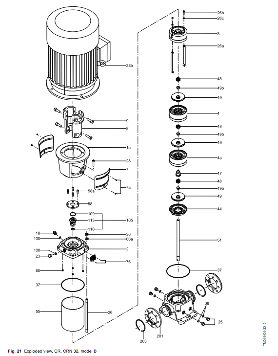 Grundfos Cr Series Vertical Centrifugal Pumps Exploded View