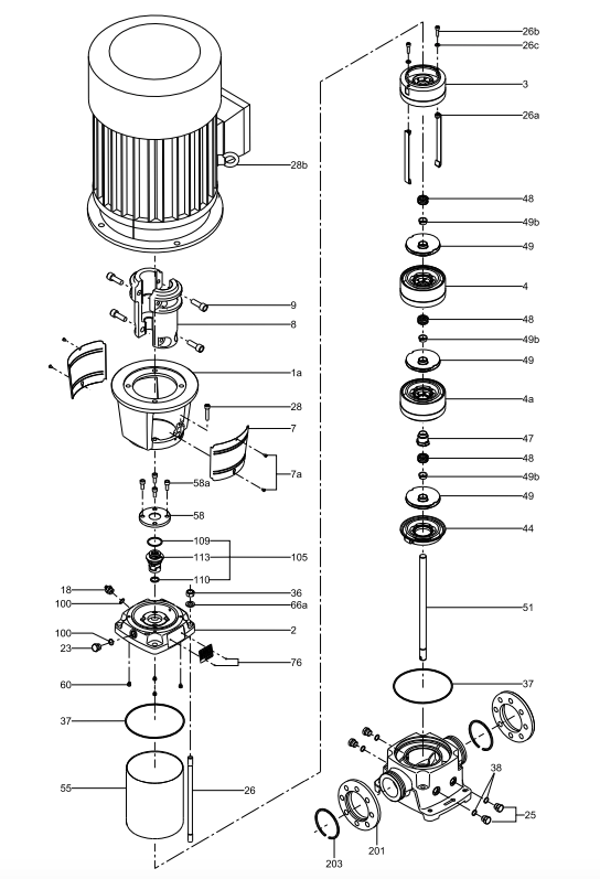 grundfos crn series vertical centrifugal pump ends exploded view